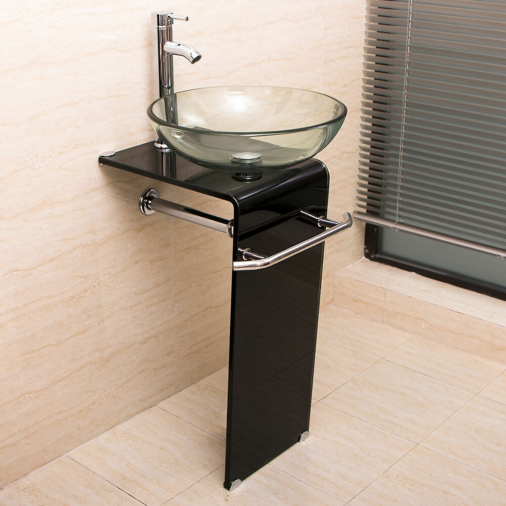 Bathroom Vanity Pedestal: Modern Bathroom Vanity Pedestal Clear Glass Vessel Sink