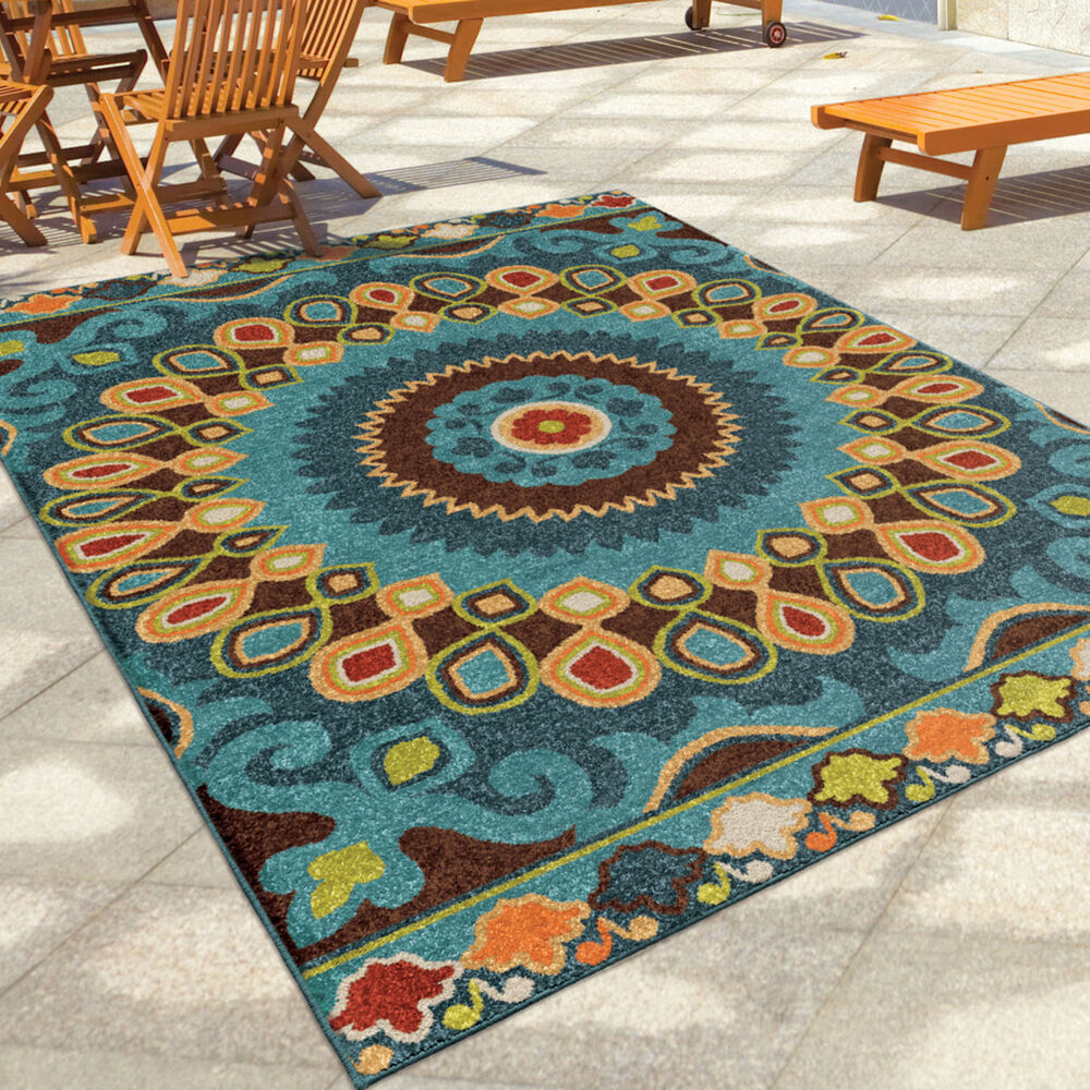 "Outdoor Rug 7 X 10: 8x11 (7'8"" X 10'10"") Contemporary Modern Geometric Indoor"