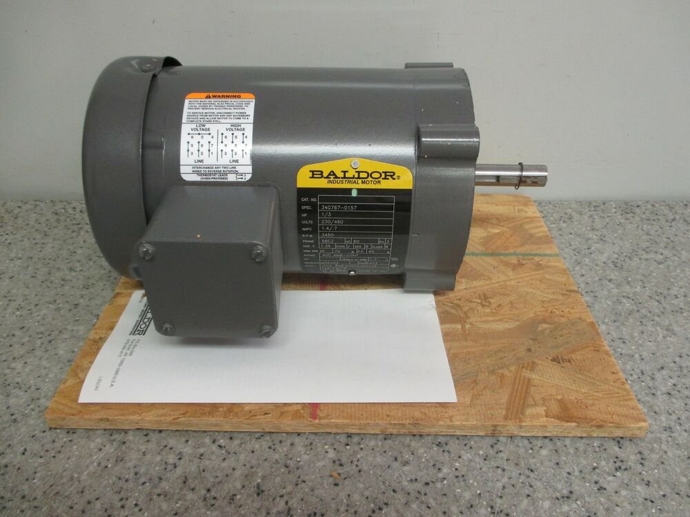 Baldor industrial electric motor ph3 hp 1 3 rpm 3450 v for Dc motor 1 3 hp