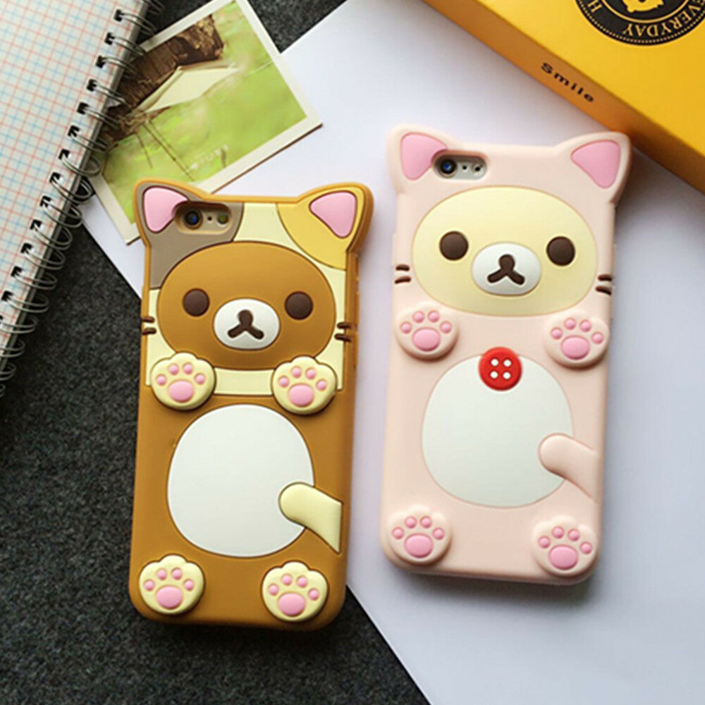 3d iphone cases 3d rubber rilakkuma relax cover for iphone 2207