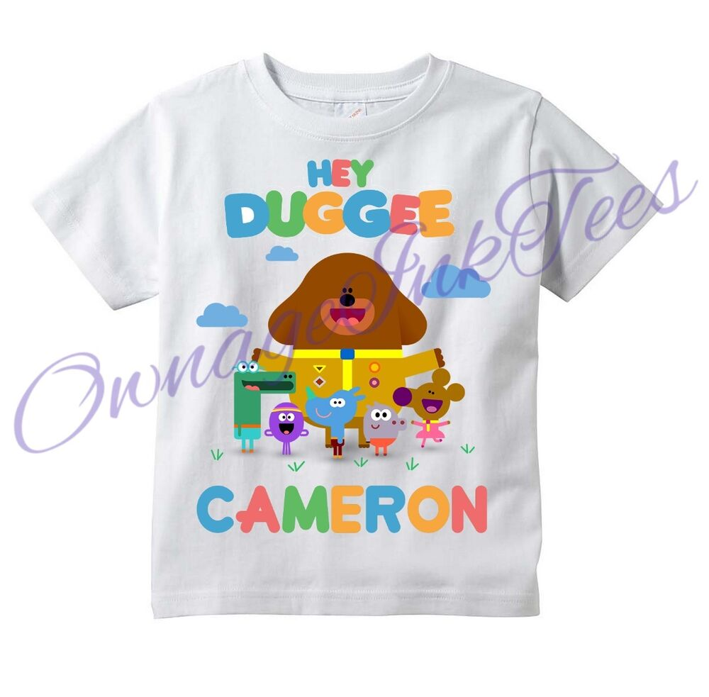 Hey duggee custom t shirt personalize great gift add for Custom t shirts add photo