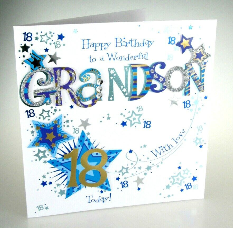Happy Birthday GRANDSON 18 Today Special LARGE Hand Finished 18th Greeting Card 5024474068941