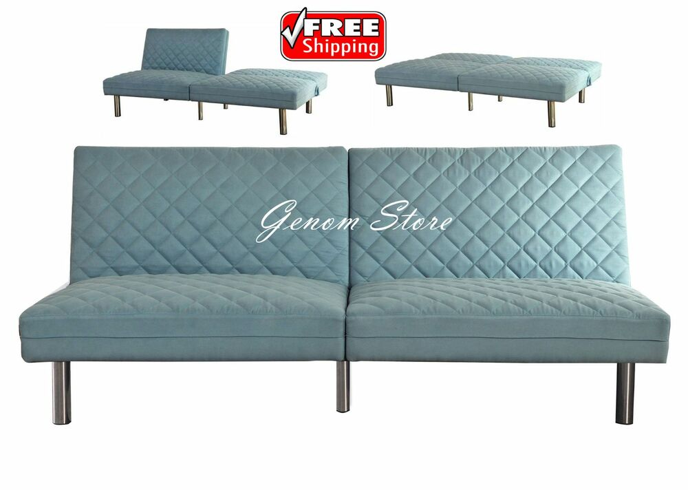 Futon sofa bed quilted memory foam convertible sleeper for Memory foam futon sofa bed