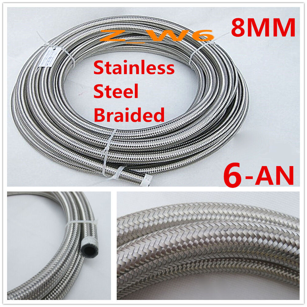 Chrome Stainless Braided Line : An mm quot stainless steel braided oil fuel line
