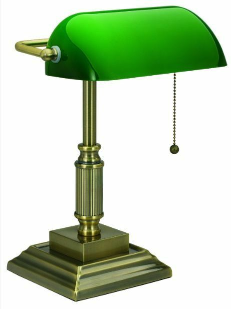Antique Bankers Lamp Desk Glass Shade Green Student Piano