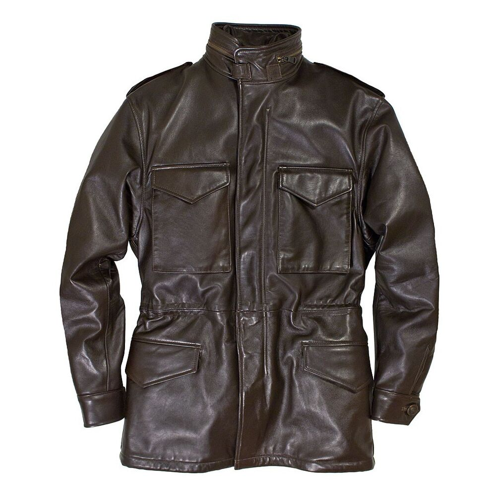 4922525eb7b Details about Cockpit USA Leather M-65 Field Jacket Brown USA Made