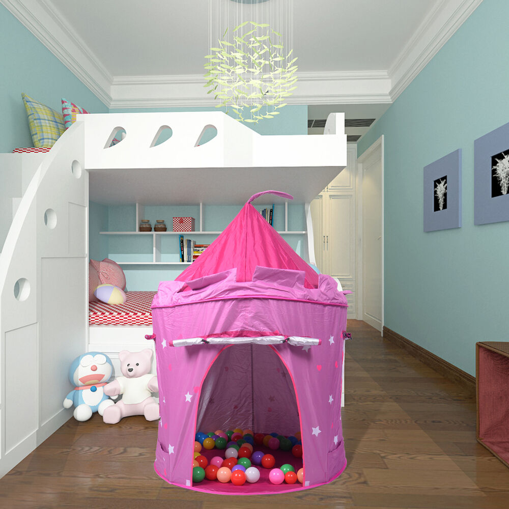 portable folding pink play kids pop up tent castle house. Black Bedroom Furniture Sets. Home Design Ideas