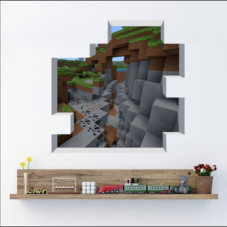 Cute minecraft wall stickers wallpaper kids room decal for Awesome minecraft vinyl wall decals