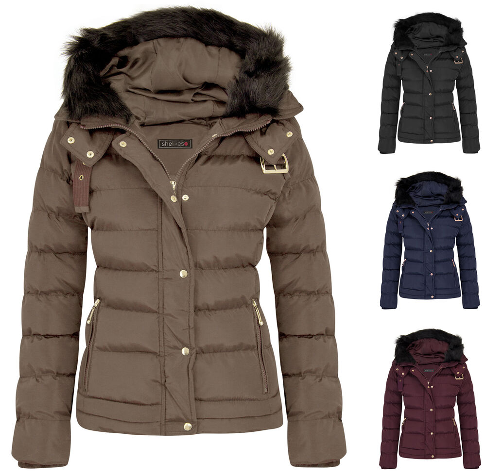 Womens Girls Warm Jacket Fur Outerwear Hood Winter Padded