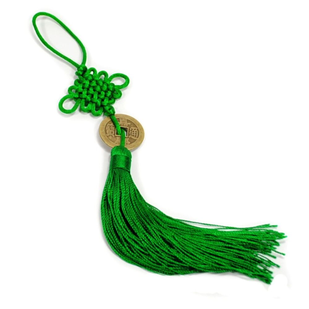 feng shui fortune coin tassel green hanging cure balance peace healing health ebay. Black Bedroom Furniture Sets. Home Design Ideas