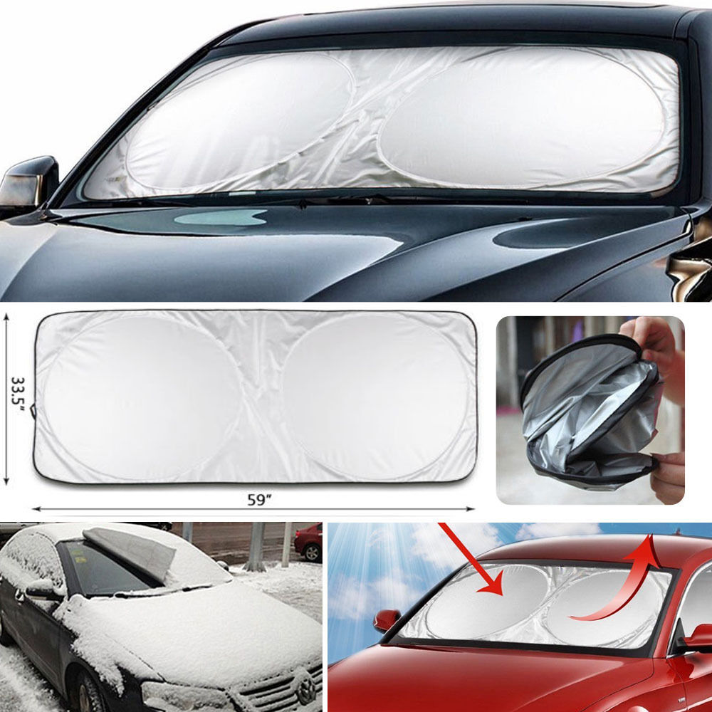 jumbo front rear car window sun shade folding auto visor windshield block cover ebay. Black Bedroom Furniture Sets. Home Design Ideas