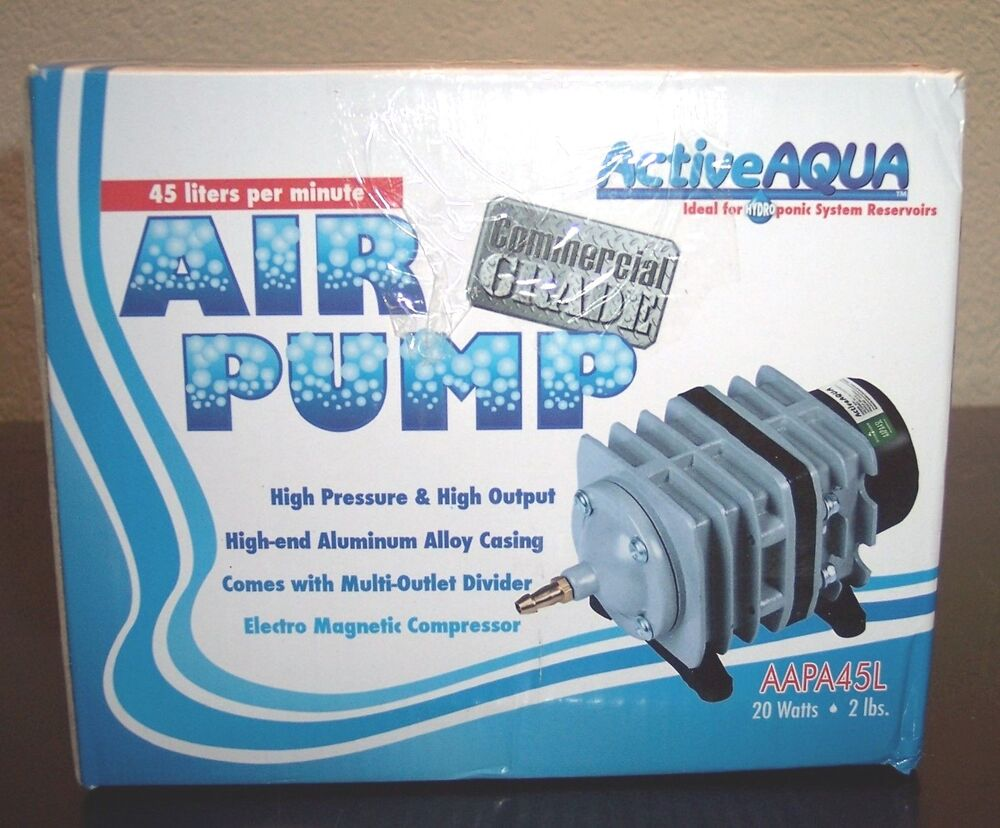 Active aqua commercial air pump 45 liters per min for Hydroponic air pump