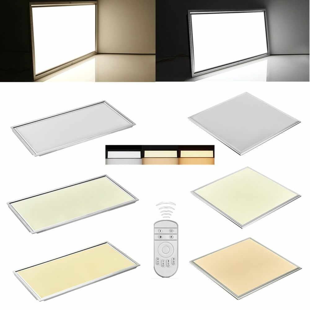 led panel lampe deckenleuchte ir dimmbar wei neutralwei warmwei wandleuchte ebay. Black Bedroom Furniture Sets. Home Design Ideas