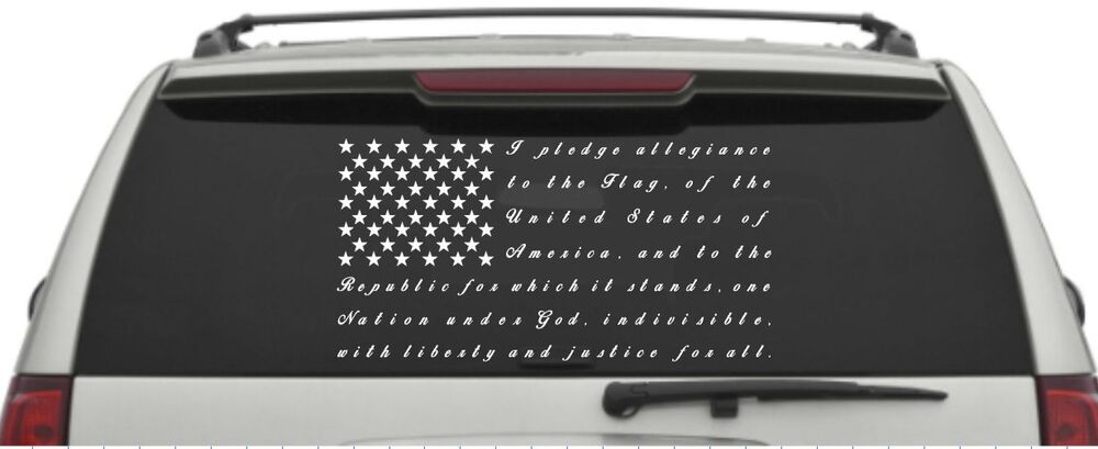 Pledge of allegiance thin blue line american flag car window decal ebay