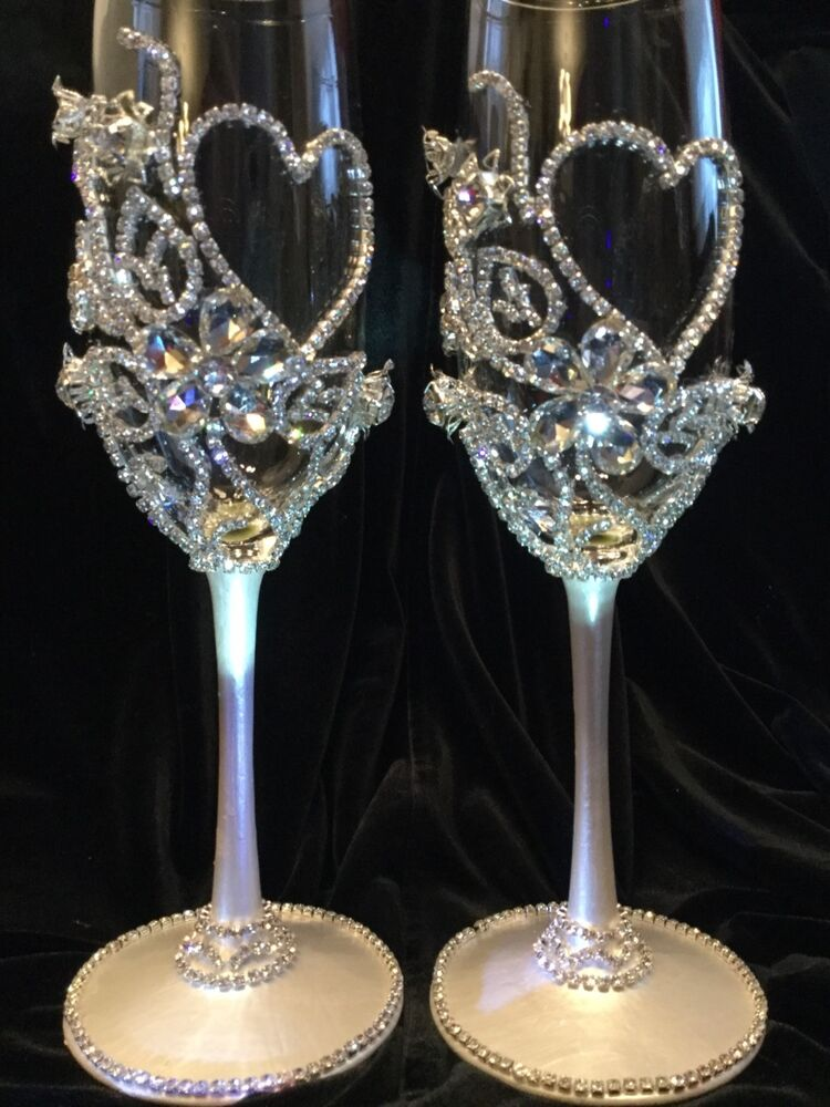 wedding champagne glasses toasting flutes glass crystal rhinestone
