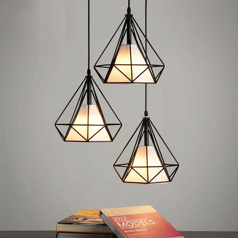 Modern Cage Pendant Lighting Metal Polygon Wire 1-Light