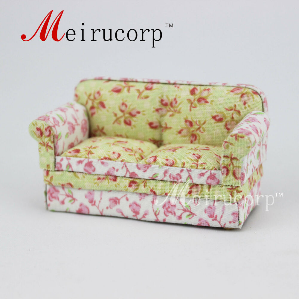Floral pattern sofa for fine 1 24 scale miniature ebay for 80s floral couch