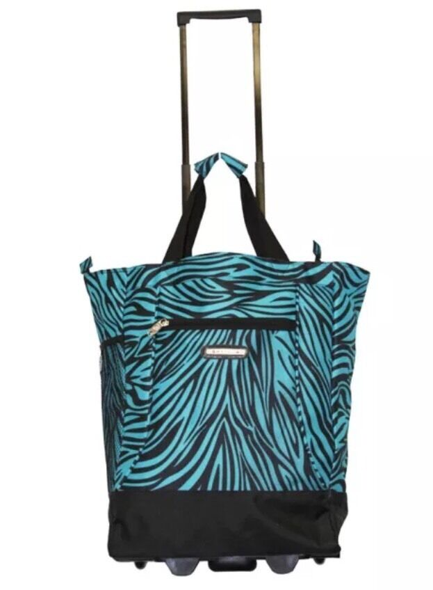 green 20 wheeled rolling shopping tote bag with retractable handle ebay. Black Bedroom Furniture Sets. Home Design Ideas