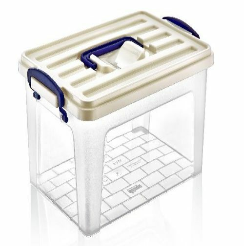Large Tall Clear Plastic Storage Box With Carry Handle
