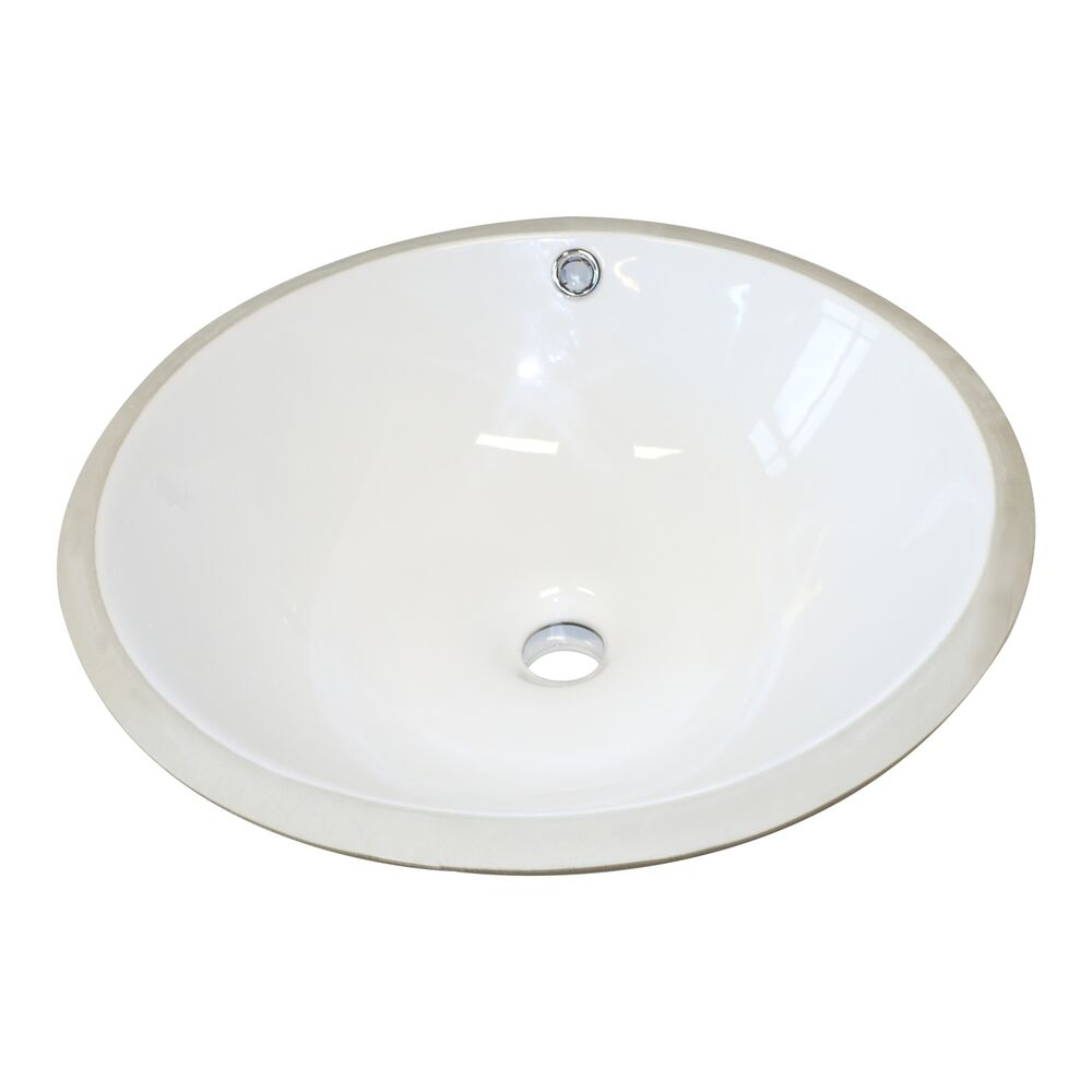 Undermount Bowl Bathroom Sink In White Round Ceramic Drain Basin With Overflow Ebay
