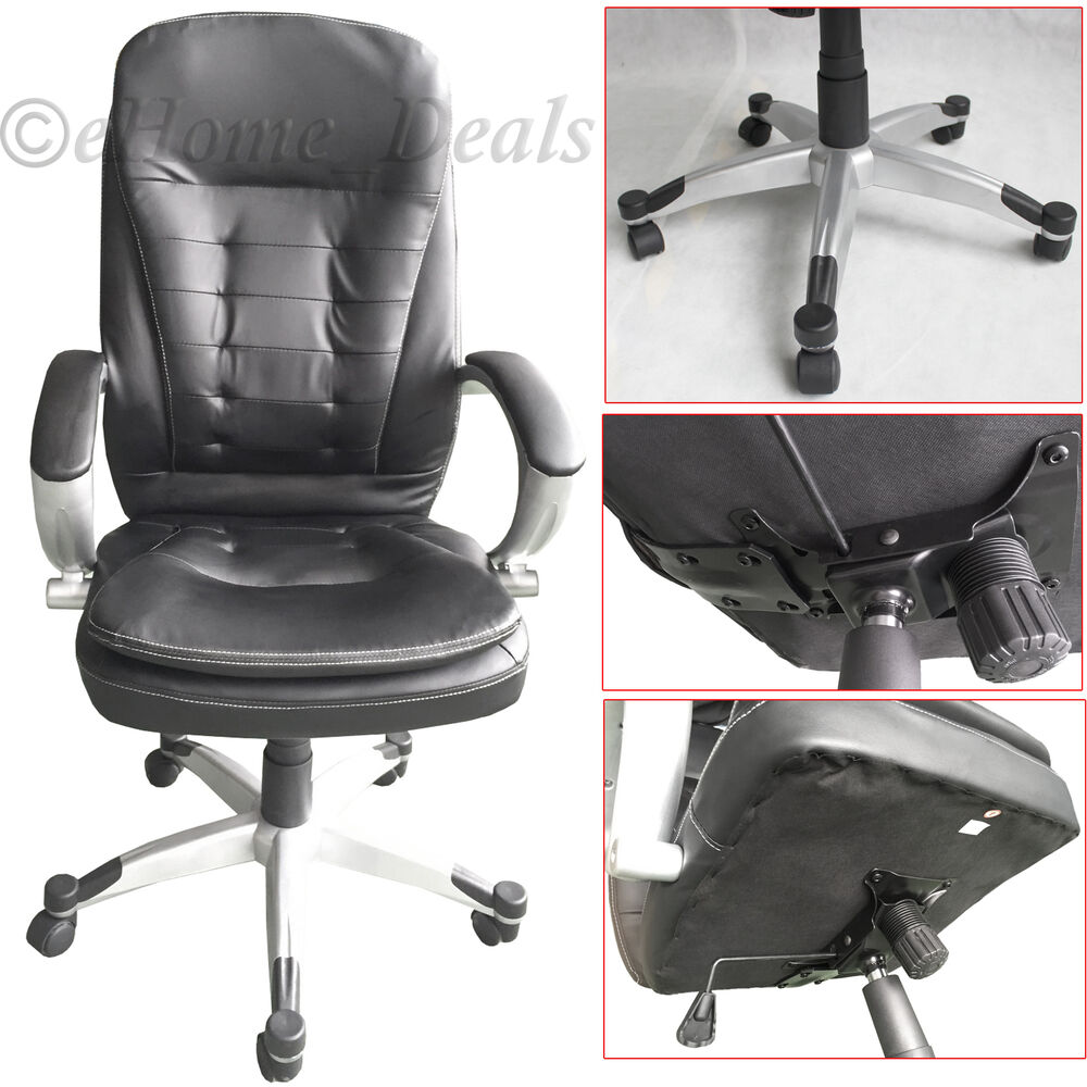 Luxury Extra Padded PU Leather Executive Office Chair Swivel Computer Desk Se