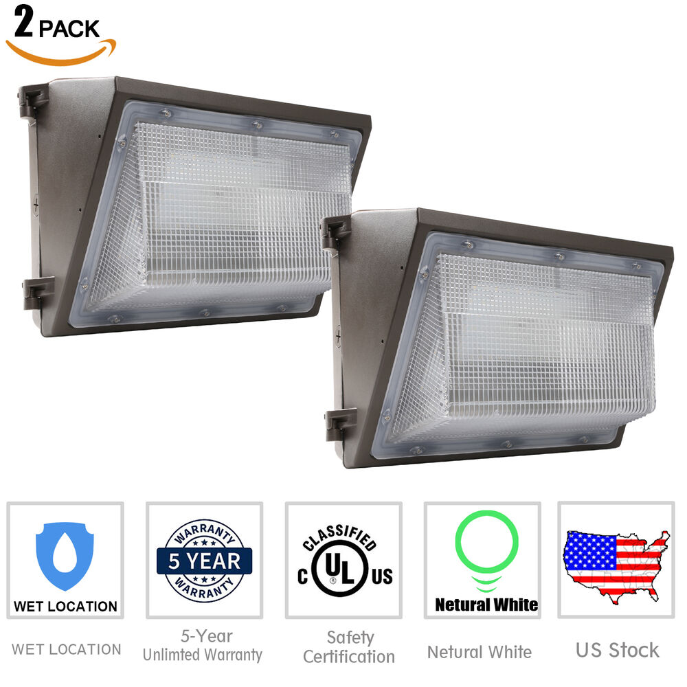 Us 2 pack led wall pack light 70w waterproof fixture lighting crystal white glow ebay - Consider led wall pack lighting home ...