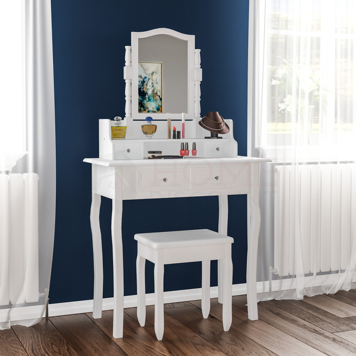 Nishano dressing table 4 drawer stool white makeup mirror for White makeup desk with mirror