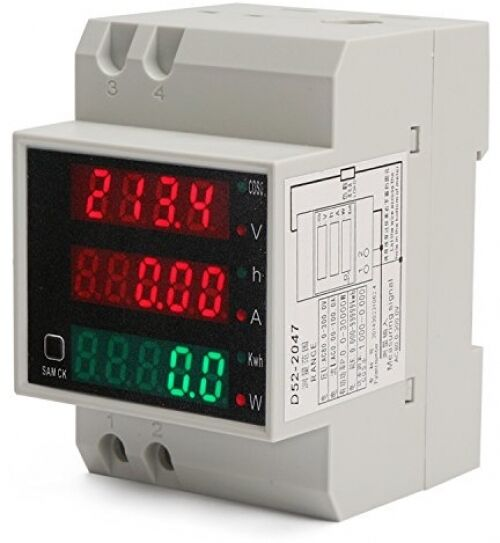 Ac Power Meter : Din rail digital multimeter ac voltmeter ammeter power