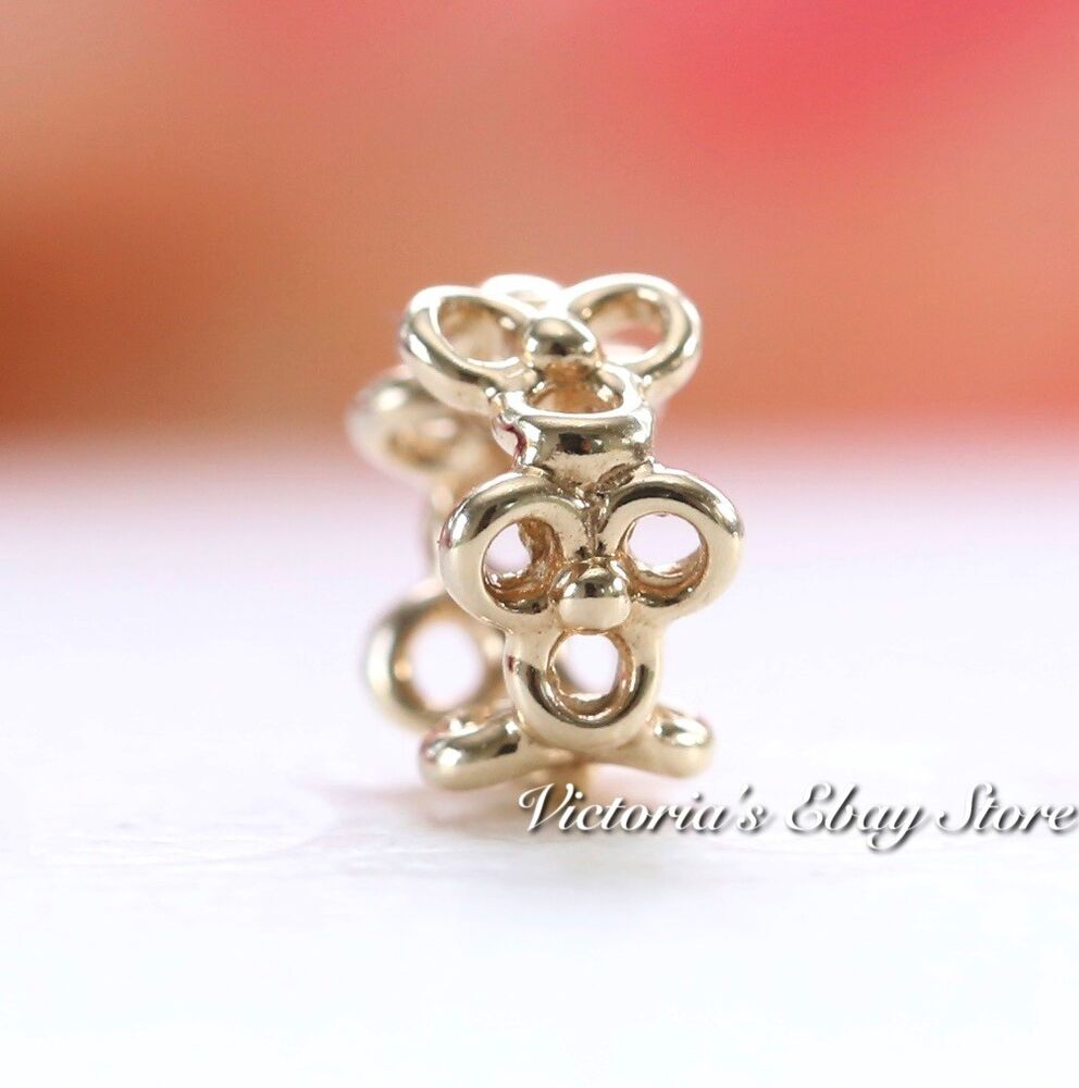 Authentic Pandora 750451 Trinity Flower Spacer 14k Solid