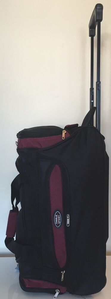 black with wine 22 wheeled duffle bag with retractable handle travel gym bag ebay. Black Bedroom Furniture Sets. Home Design Ideas