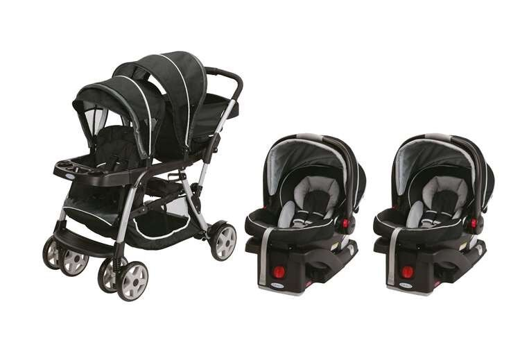 Double Twin Travel System W 2 Infant Car Seats Baby Kid