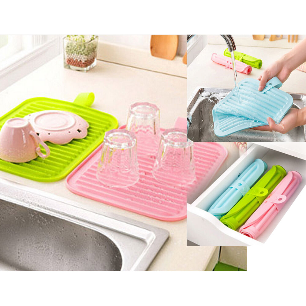 Dish Drying Mat Pad Silicone Kitchen Drainer Rack Small