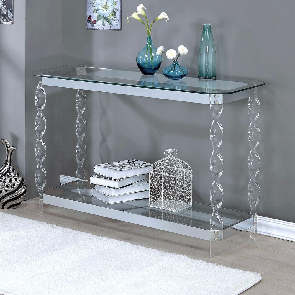 Contemporary Foyer Uk : Console tables for entryway chrome sofa table clear glass