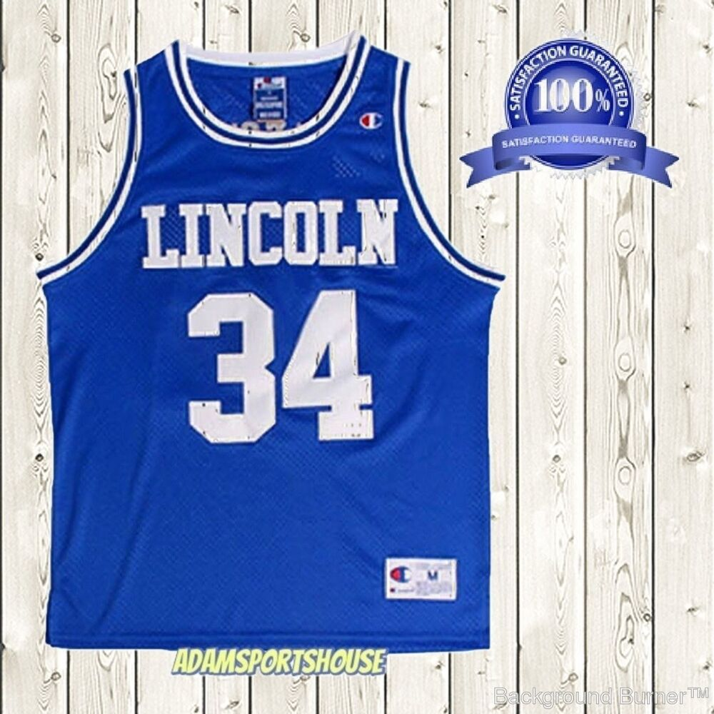 6846af4045dc Details about Jesus Shuttlesworth  34 Lincoln Jersey Throwback He Got Game  Movie Blue Stitched