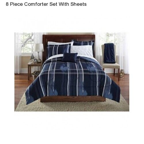 Navy Blue Plaid 8 Piece Queen Size Comforter Set Bedding