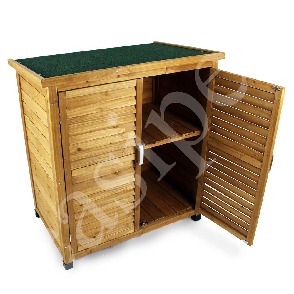Wooden garden outdoor store cupboard shed lawn mower tool for Wooden garden storage shed