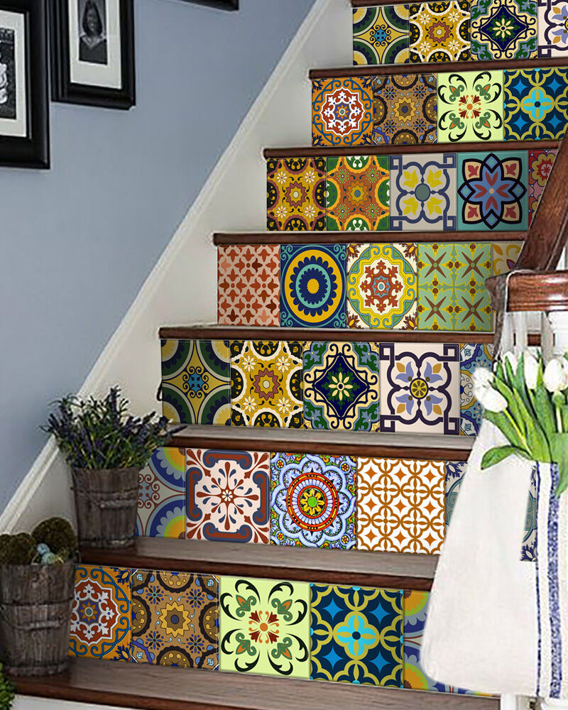 24 Set Mexican Stairs Tile Stickers Wall Decals Home Decor
