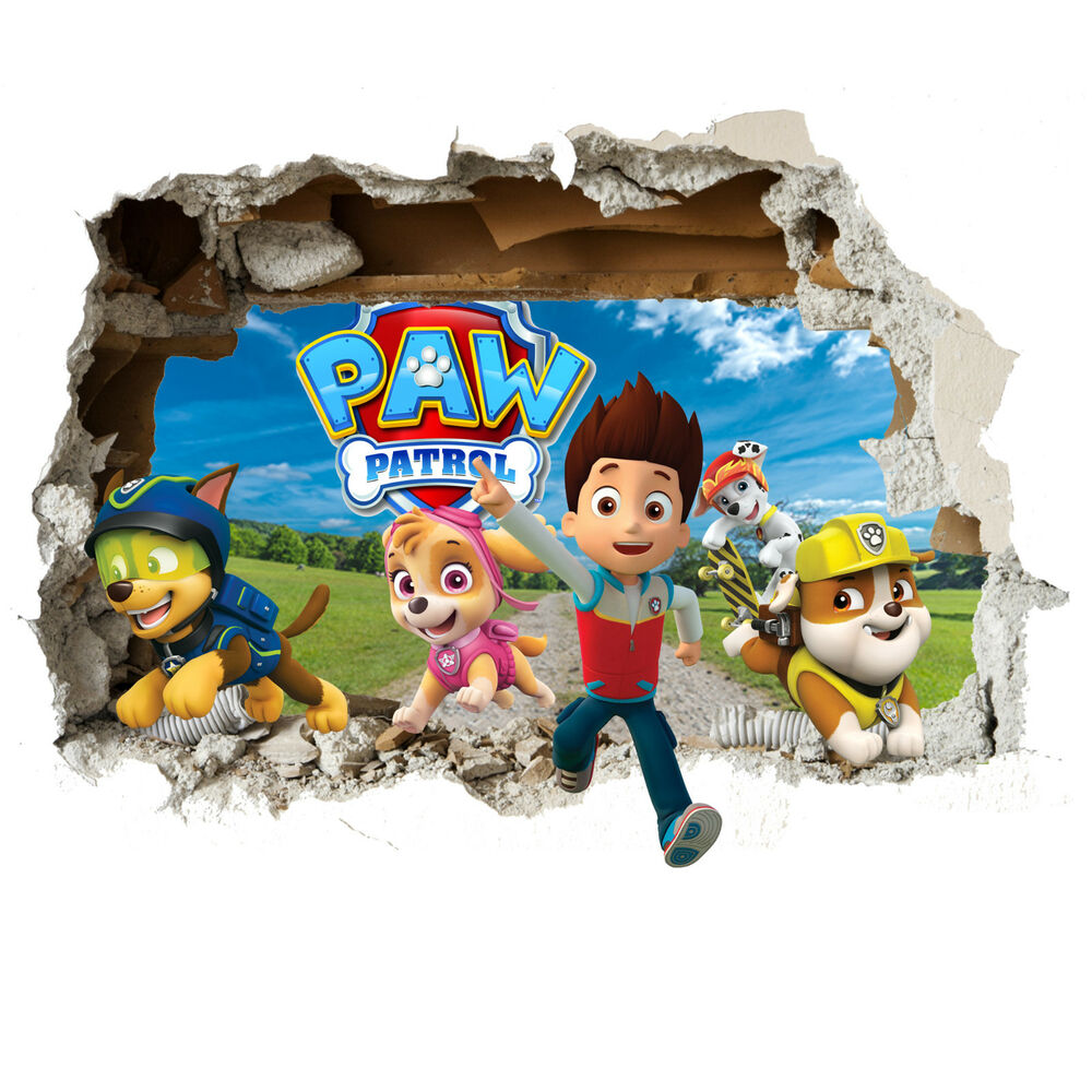 paw patrol 3d smashed wall decal wall sticker for bedrooms. Black Bedroom Furniture Sets. Home Design Ideas
