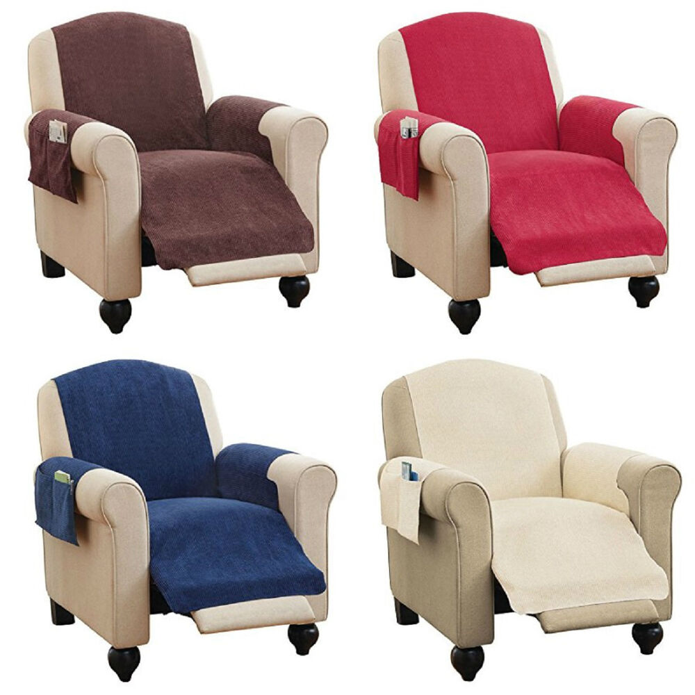 Faux Chenille Recliner Chair Furniture Cover Amp Pockets 4 Colors Read Description Ebay