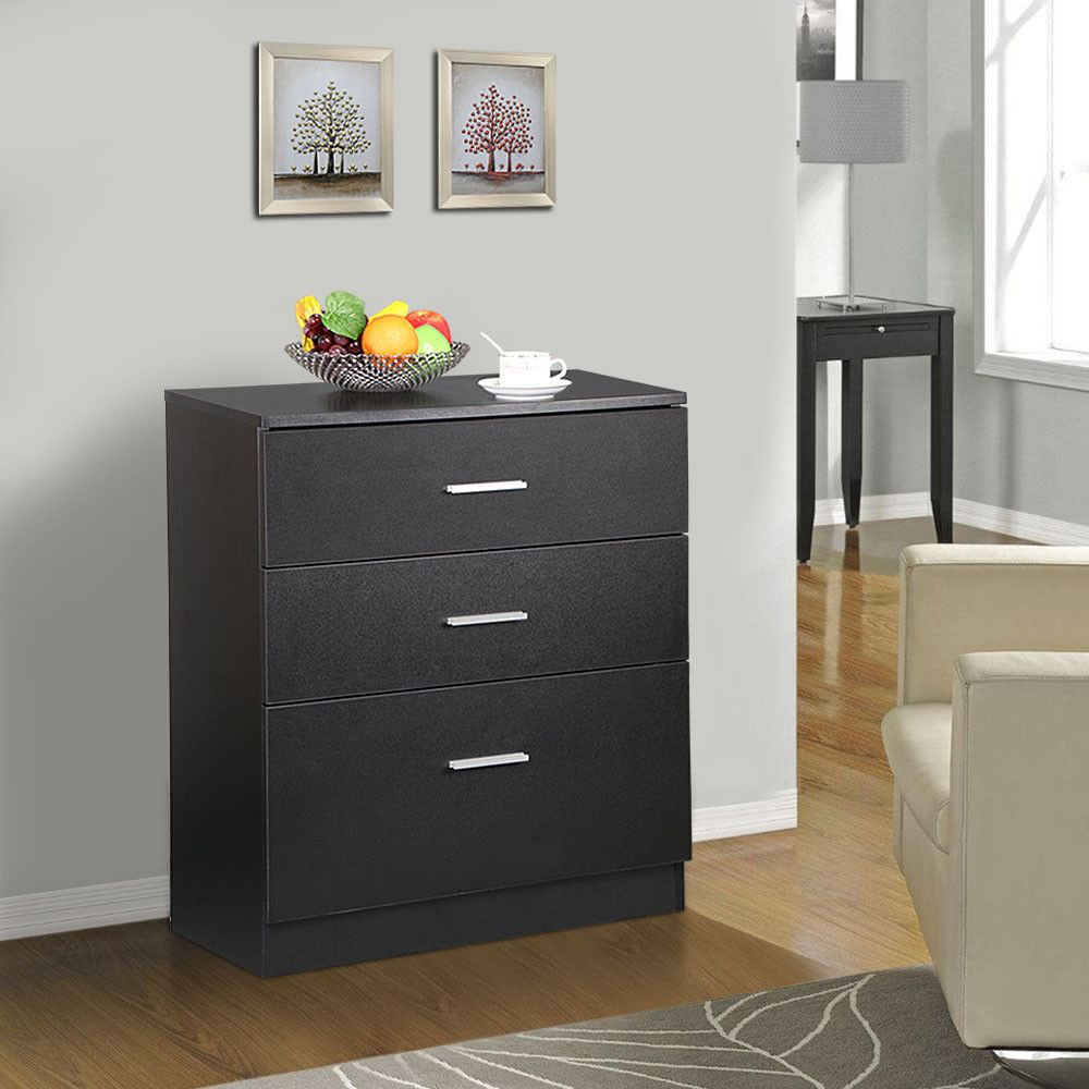 Wood drawer office file cabinet black filing storage