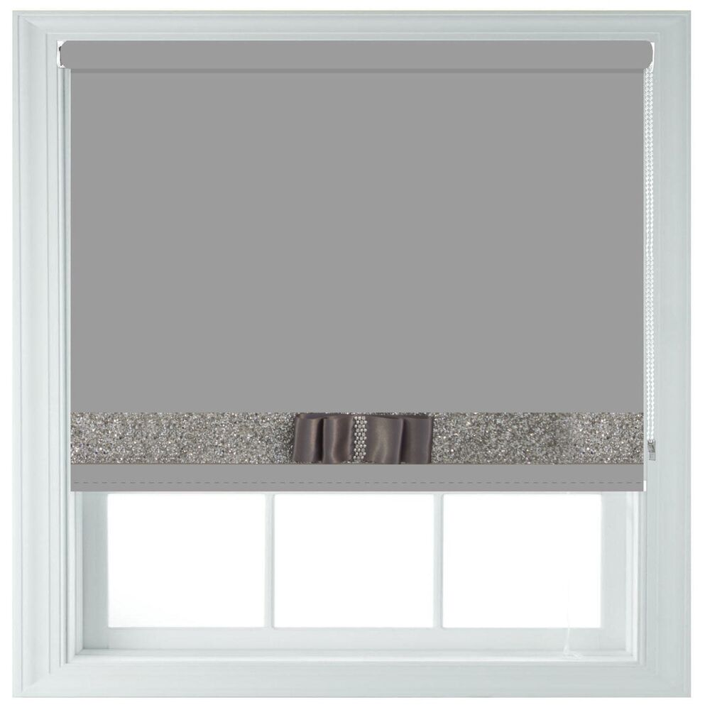 grey blackout roller blind made to measure with silver. Black Bedroom Furniture Sets. Home Design Ideas