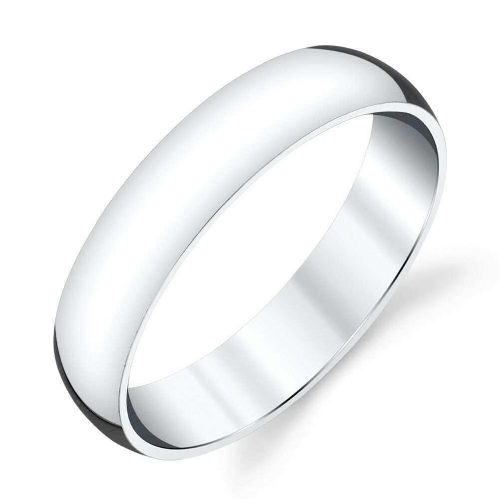 5mm Plain Dome Sterling Silver Mens Wedding Band Comfort Fit Ring SEVB011