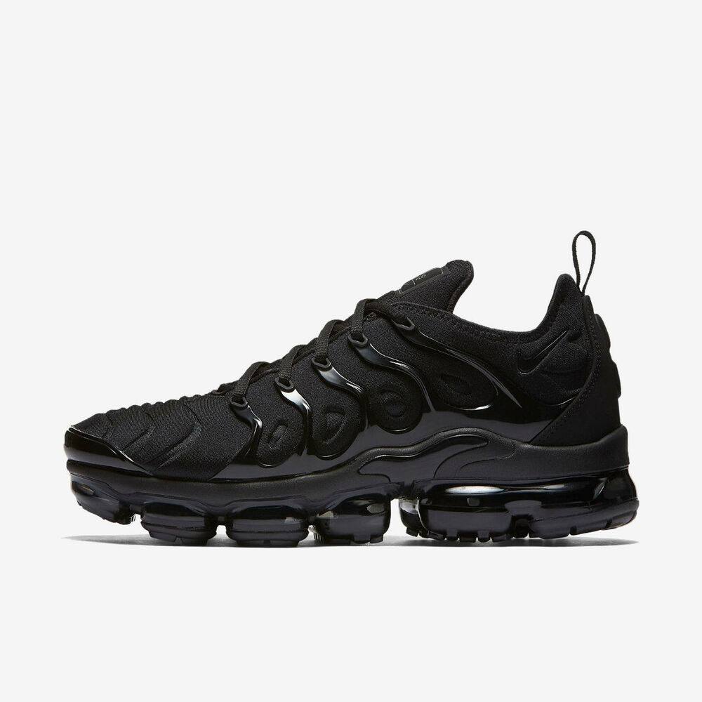 c525e76f151 Details about NIKE AIR VAPORMAX PLUS 924453-004 TRIPLE BLACK BLACK DARK GREY