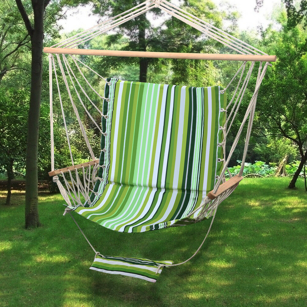 Outdoor Hanging Rope Hammock Chair Swing Seat W/ Armrest ...