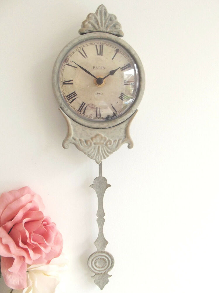 New Chic Shabby Pale Grey Pendulum Wall Clock French Paris