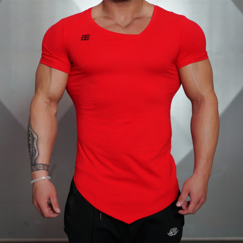New mens long tail tee short sleeve collar irregular Fitness shirts for men