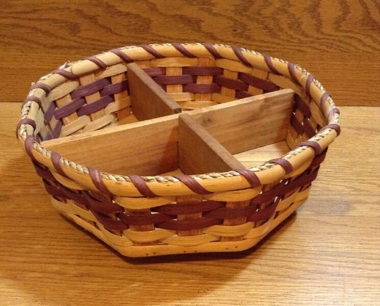 Handmade Swill Basket : Amish handmade reed lazy susan basket quot with devider