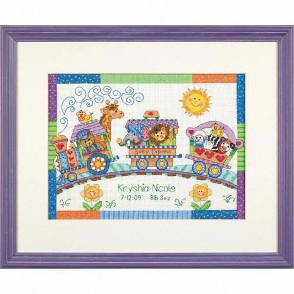 Dimensions Counted Cross Stitch Kit - Birth Record - Baby Express / Train D73428