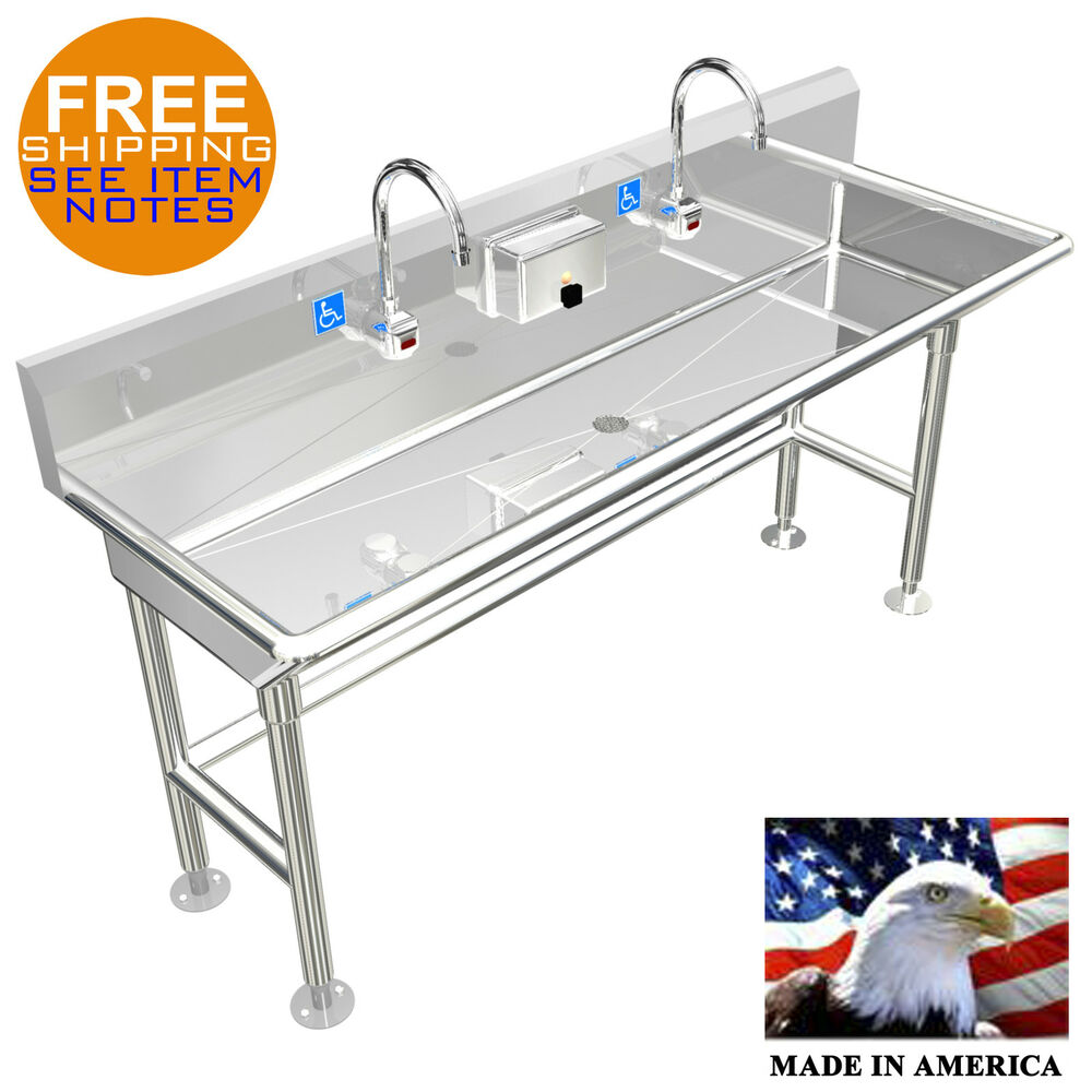 """ADA HAND WASH SINK 2 STATION 60"""" ELECTRONIC FAUCET FREE"""
