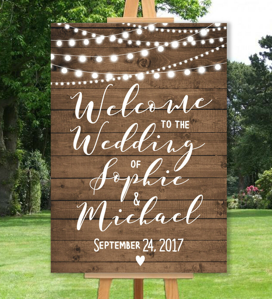 PERSONALISED WELCOME WEDDING SIGN A3 A2 A1 RUSTIC VINTAGE WOOD EFFECT RUSTIC